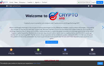 CRYPTOARB.ORG screenshot