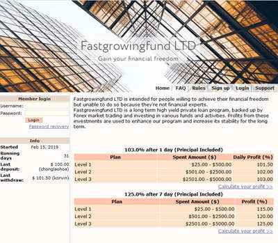 Fastgrowingfund LTD screenshot